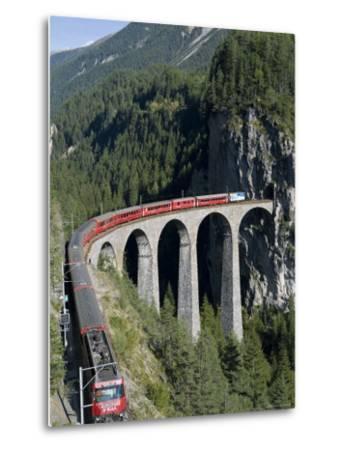 Glacier Express and Landwasser Viaduct, Filisur, Graubunden, Switzerland-Doug Pearson-Metal Print