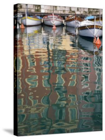 Relections, Nice Harbour, Cote d'Azur, France-Doug Pearson-Stretched Canvas Print