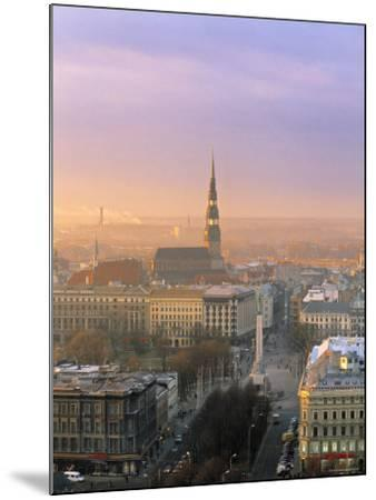 Freedom Monument and St. Peter's Church, Riga, Latvia-Jon Arnold-Mounted Photographic Print