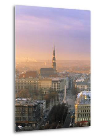 Freedom Monument and St. Peter's Church, Riga, Latvia-Jon Arnold-Metal Print