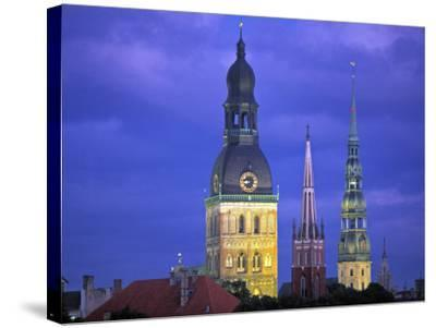 Dome Cathedral, St. Peter's and St. Saviour's Churches, Riga, Latvia-Peter Adams-Stretched Canvas Print