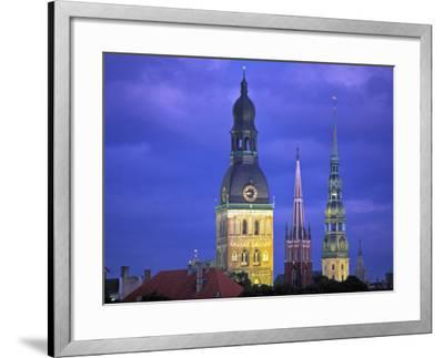 Dome Cathedral, St. Peter's and St. Saviour's Churches, Riga, Latvia-Peter Adams-Framed Photographic Print