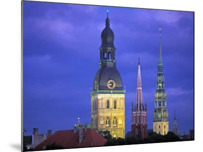 Dome Cathedral, St. Peter's and St. Saviour's Churches, Riga, Latvia-Peter Adams-Mounted Photographic Print