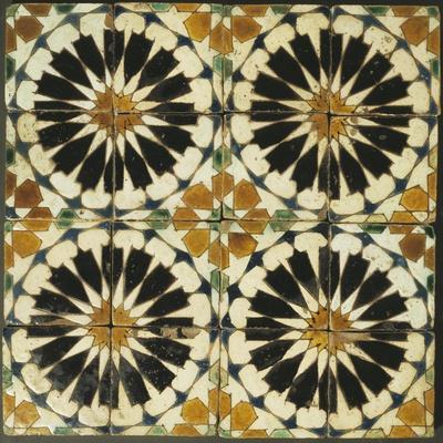 Four Roundels with Oar Shaped Segments with Star on Panel of Sixteen Tiles, 14th Century--Stretched Canvas Print