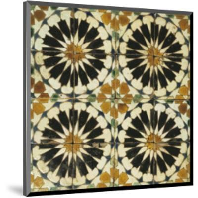 Four Roundels with Oar Shaped Segments with Star on Panel of Sixteen Tiles, 14th Century--Mounted Premium Giclee Print