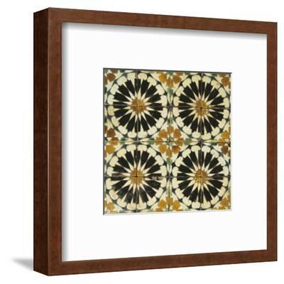 Four Roundels with Oar Shaped Segments with Star on Panel of Sixteen Tiles, 14th Century--Framed Premium Giclee Print