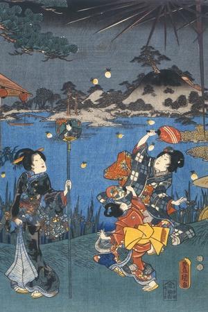 Firefly Hunting-Utagawa Kunisada-Stretched Canvas Print