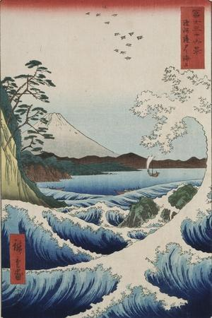 The Sea at Satta in Suruga Province-Ando Hiroshige-Stretched Canvas Print