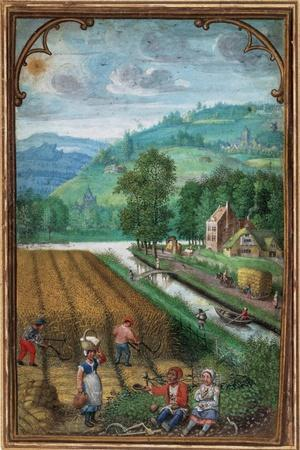 September Leaf from a Calender Book of Hours-Simon Benninck-Stretched Canvas Print