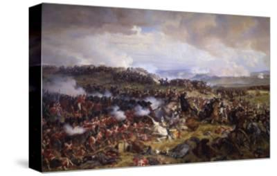 The Battle of Waterloo: British Squares Receiving the Charge of the French Cuirassiers-Felix Philippoteaux-Stretched Canvas Print