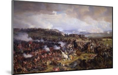 The Battle of Waterloo: British Squares Receiving the Charge of the French Cuirassiers-Felix Philippoteaux-Mounted Giclee Print