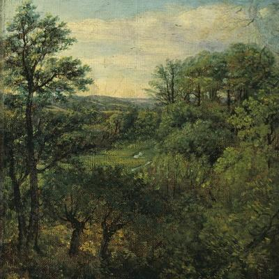 Valley Scene with Trees-John Constable-Stretched Canvas Print