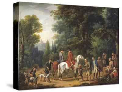 Landscape with Huntsmen and Beggars-Johann Andreas Herrlein-Stretched Canvas Print