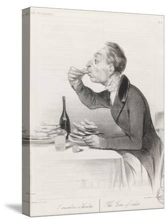 Man Eating Oysters and Wine-Honore Daumier-Stretched Canvas Print