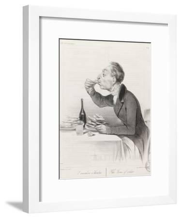 Man Eating Oysters and Wine-Honore Daumier-Framed Giclee Print