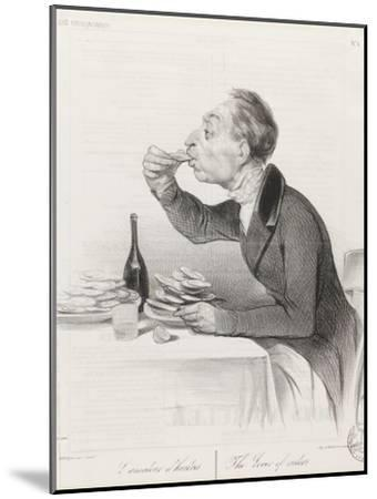 Man Eating Oysters and Wine-Honore Daumier-Mounted Giclee Print