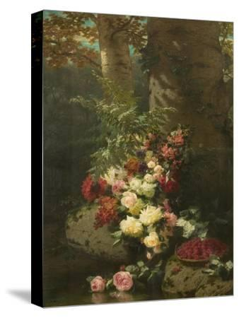Flowers and Fruit-Jean Baptiste Claude Robie-Stretched Canvas Print