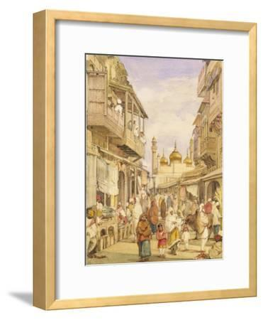 Crowded Street Scene in Lahore, India-William Carpenter-Framed Giclee Print