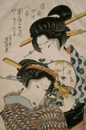 Teahouse Meeting-Keisai Eisen-Stretched Canvas Print