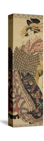 Young Woman in Traditional Highly Decorative Japanese Costume-Katsukawa Shunsen-Stretched Canvas Print
