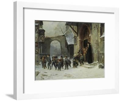 Young Boys Leaving a Church School Building onto a Snow Covered Courtyard, c.1853-Marc Louis Benjamin Vautier-Framed Giclee Print