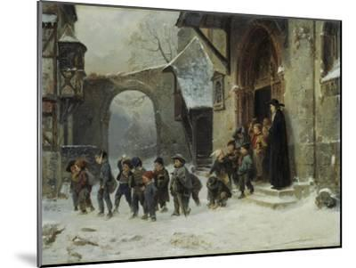 Young Boys Leaving a Church School Building onto a Snow Covered Courtyard, c.1853-Marc Louis Benjamin Vautier-Mounted Giclee Print