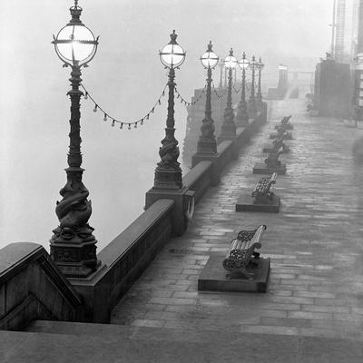 Lamp Posts and Benches by the River Thames-John Gay-Stretched Canvas Print