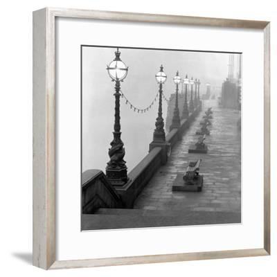 Lamp Posts and Benches by the River Thames-John Gay-Framed Giclee Print