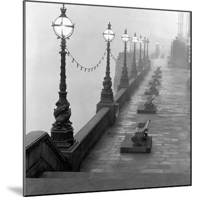 Lamp Posts and Benches by the River Thames-John Gay-Mounted Giclee Print
