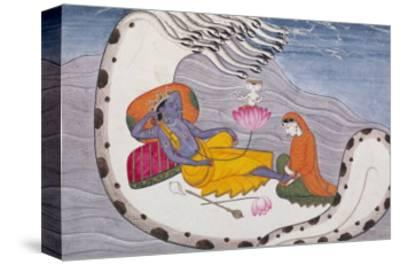 Vishnu and Lakshmi on the Serpent of Eternity--Stretched Canvas Print