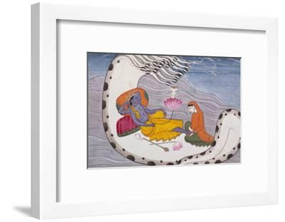 Vishnu and Lakshmi on the Serpent of Eternity--Framed Giclee Print