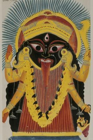 The Goddess Kali. Kalighat Style. Calcutta, India, 1845--Stretched Canvas Print