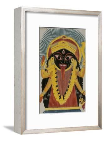 The Goddess Kali. Kalighat Style. Calcutta, India, 1845--Framed Giclee Print