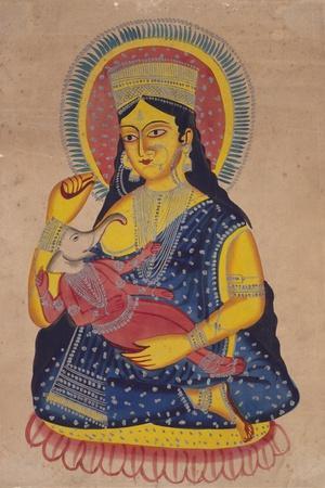Parvati Nursing Ganesha, India--Stretched Canvas Print