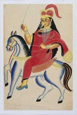 The Rani of Jhansi on Horseback, c.1890--Stretched Canvas Print