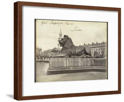 Stone Lion, Trafalgar Square, London, 19th Century-Francis Frith-Framed Giclee Print