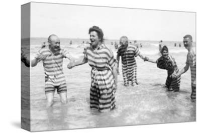 Ostend Seaside, Five Striped Bathers, c.1900-Andrew Pitcairn-knowles-Stretched Canvas Print