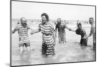 Ostend Seaside, Five Striped Bathers, c.1900-Andrew Pitcairn-knowles-Mounted Giclee Print