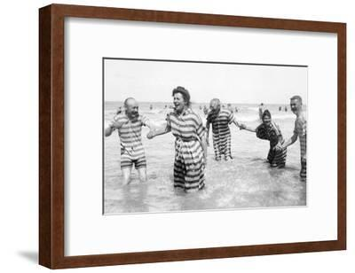 Ostend Seaside, Five Striped Bathers, c.1900-Andrew Pitcairn-knowles-Framed Giclee Print
