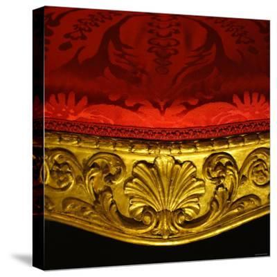 Armchair in Gilded Beech Wood and Walnut with Damask Upholstery-Robert Adam-Stretched Canvas Print