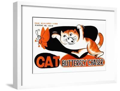Cat Butterfly Chaser--Framed Art Print