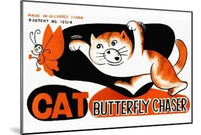 Cat Butterfly Chaser--Mounted Art Print