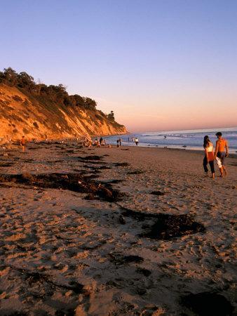 Couple Walking Down Henry's Beach, Santa Barbara, California-Savanah Stewart-Framed Photographic Print