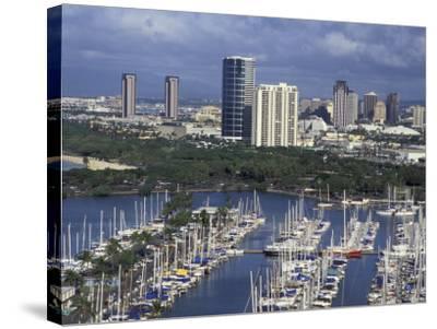 City Skyline and Beach, Honolulu, Oahu, Hawaii-Randa Bishop-Stretched Canvas Print