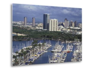 City Skyline and Beach, Honolulu, Oahu, Hawaii-Randa Bishop-Metal Print