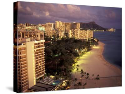 City Skyline and Beach, Honolulu, Oahu, Hawaii-Randa Bishop-Stretched Canvas Print