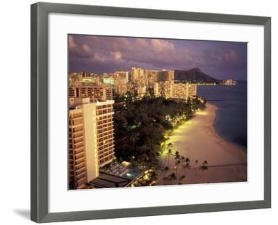 City Skyline and Beach, Honolulu, Oahu, Hawaii-Randa Bishop-Framed Photographic Print
