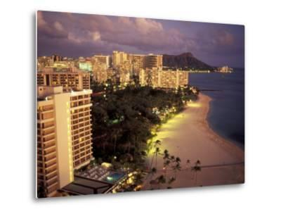 City Skyline and Beach, Honolulu, Oahu, Hawaii-Randa Bishop-Metal Print