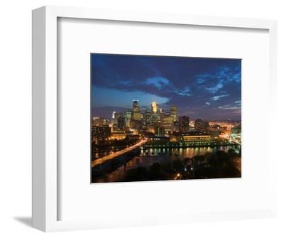 Evening Skyline Scene from St. Anthony Main, Minneapolis, Minnesota-Walter Bibikow-Framed Photographic Print