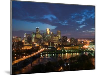 Evening Skyline Scene from St. Anthony Main, Minneapolis, Minnesota-Walter Bibikow-Mounted Photographic Print